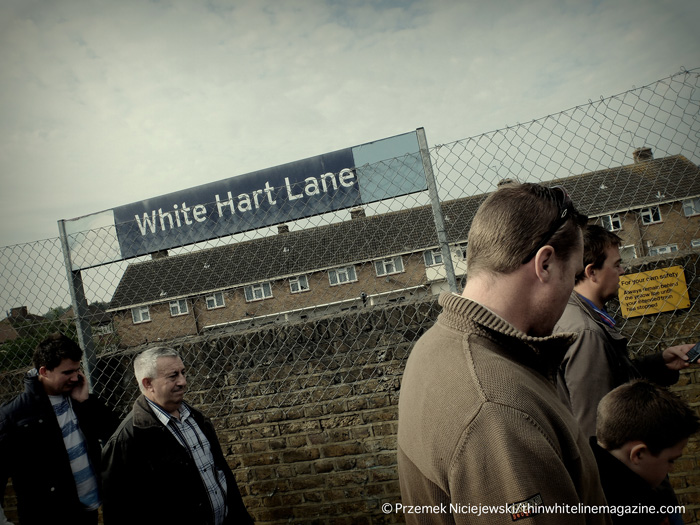 Cheerful Tottenham supporters arrive at White Hart Lane station