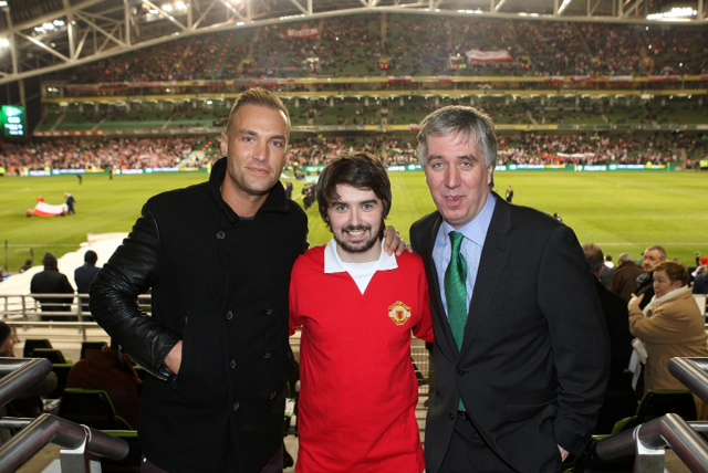 Mark as George, with Calum Best and FAI CEO John Delaney