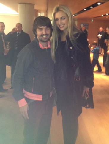 Mark with former Miss World Rosanna Davison at Aviva Stadium