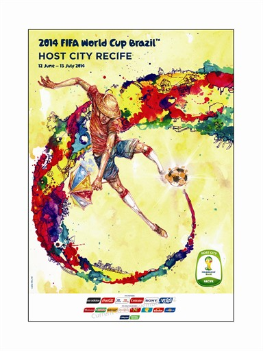 This poster is particularly representative, since they play football with an umbrella in hand in Recife.