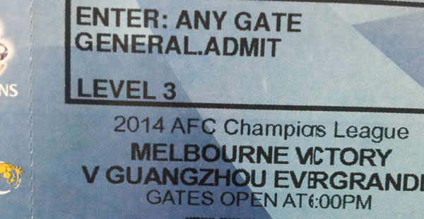 A general admission ticket. For a section of the ground that was closed.