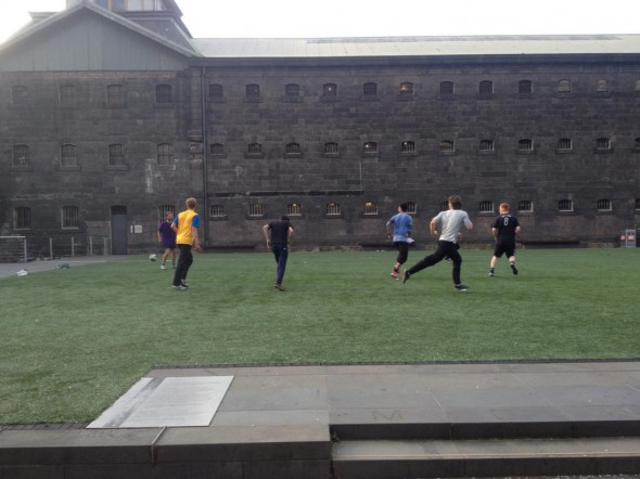 A kickabout at Melbourne Gaol. And not a Barcelona top in sight . . .