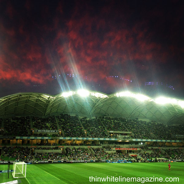 AAMI Park: red sails in the sunset.