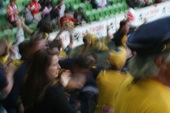 Let chaos reign! Mariners supporters celebrate a point rescued at the death.