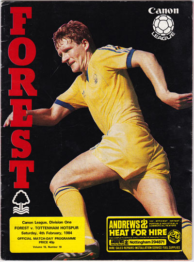 Nottingham Forest vs Tottenham Hotspur 1984, Division One