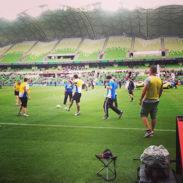 Blind football being played at half-time of Melbourne City vs Brisbane Roar