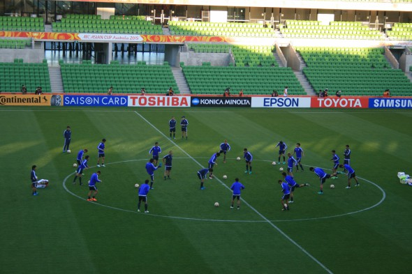 Japan training at the Melbourne Rectangular Stadium (AAMI Park if you prefer) before the Asian Cup group match against Jordan.