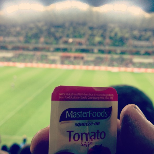 What passes for a sauce bottle at AAMI Park these days.
