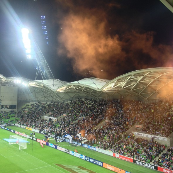 The unpredictable happened - a flare was let off in the North Terrace! Blimey!