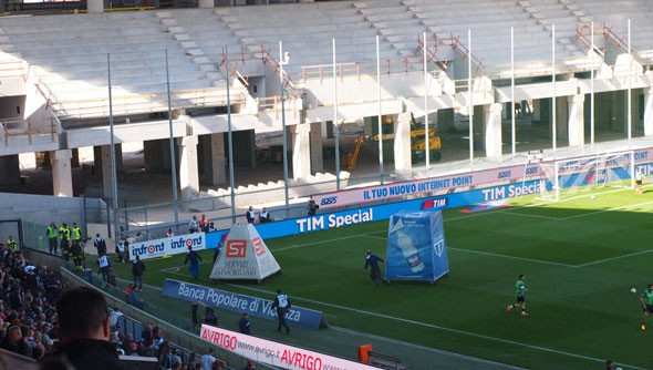This is what passes for half-time entertainment at the Stadio Friuli: advertising on wheels. Coming soon to a league near you!
