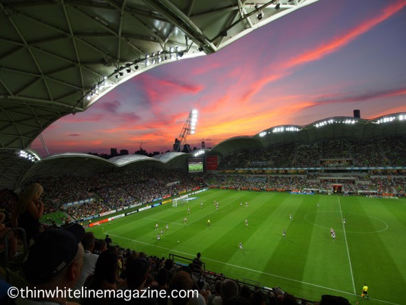 Sunset over AAMI Park.